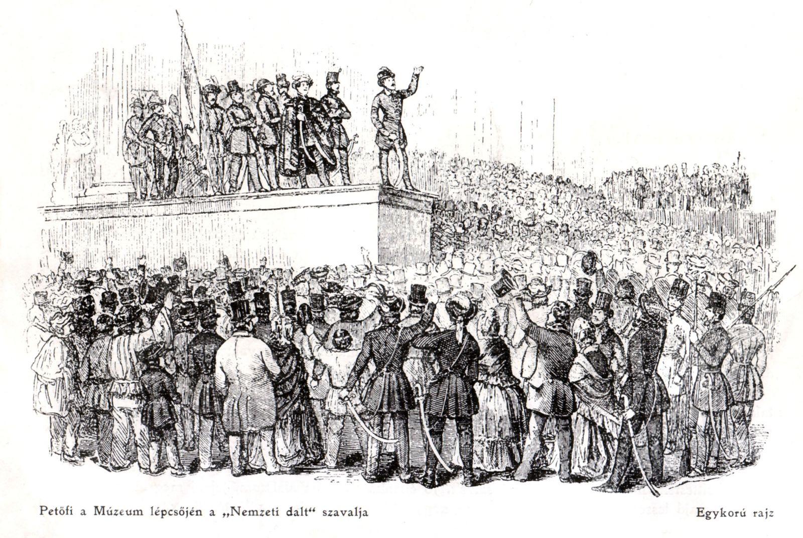 Petőfi Sándor a Nemzeti dalt szavalja 1848. március 15-én